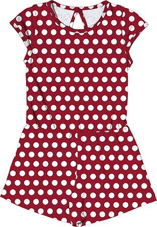 Macaquinho em Cotton Penteado Vermelho
