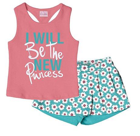 Conjunto Regata com Shorts Saia em Cotton Rosa