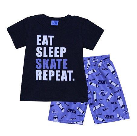 Conjunto de Camiseta e Bermuda Skate Preto