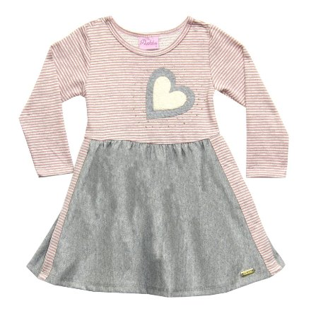 Vestido Infantil Menina Coração Rosa