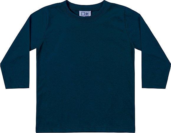 Camiseta Em Meia Malha  Penteada Azul