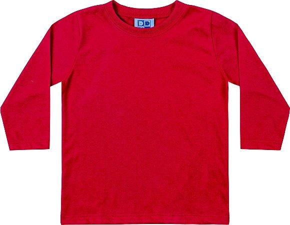Camiseta Manga Longa Infantil Menino Vermelho
