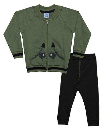 Conjunto de Bomber em Moletom com Bolso Canguru e Calça em Moletom Verde Militar