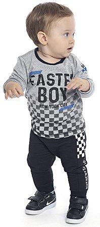 Camiseta Bebê Menino Faster Boy Mescla