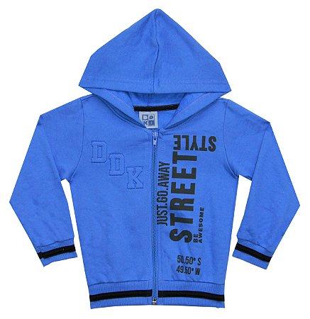 Jaqueta em Moletom Peluciado Estampado Street Style com Capuz Azul Royal