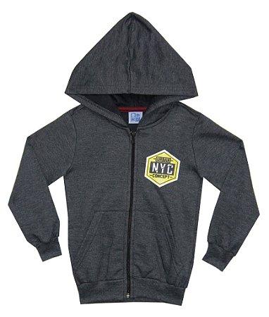 Jaqueta Em Moletom Peluciado Com Estampa, Capuz e Bolso - Mescla Escuro