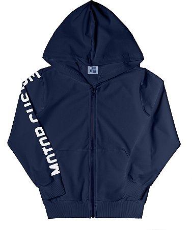 Jaqueta Em Moletom Com Estampa, Capuz E Bolso - Azul