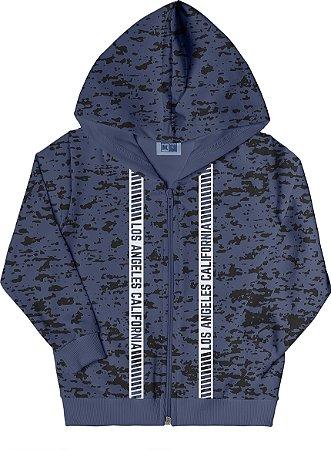 Jaqueta em Moletom com Capuz Azul