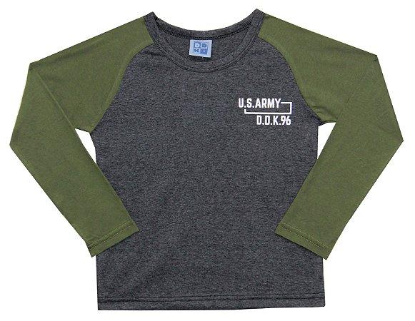 Camiseta Manga Longa Juvenil Menino US Army Mescla Escuro