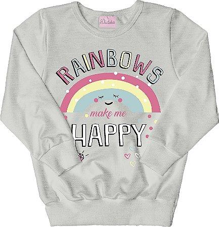 Casaco de Moletom Estampado Rainbows Mescla