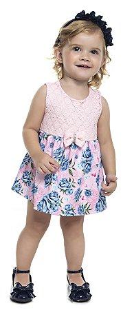 Vestido Body Bebê Menina Flores Rosa