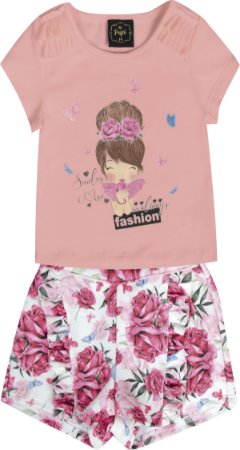 Conjunto Bebê Menina Fashion Salmão