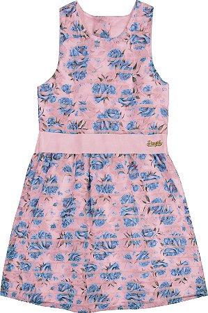 Vestido Infantil Menina Flores Rosa