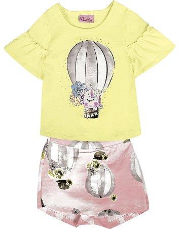 Conjunto Bebê Menina Balão  Amarelo