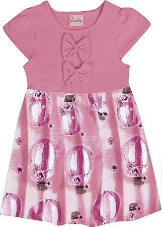 Vestido Bebê Menina Balão Rosa
