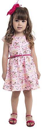 Vestido  Bebê Menina Cachorrinho Rosa