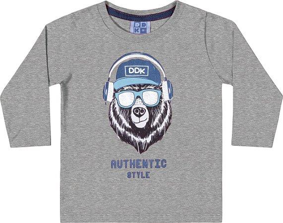 Camiseta Manga Longa Urso Mescla