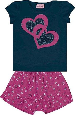 Conjunto Bebê Menina Coração Azul