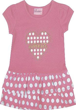 Vestido Bebê Menina Amour Rosa