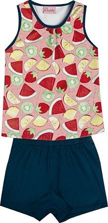 Conjunto Infantil Menina Frutas Salmão