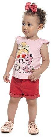 Blusa Bebê Menina Love Forever Rosa