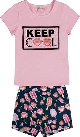 Conjunto Infantil Menina Keep Cool Rosa