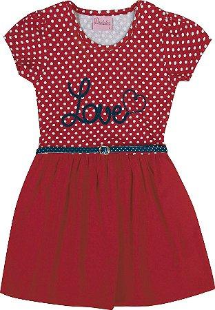 Vestido Infantil Menina Love Vermelho