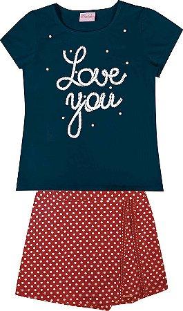 Conjunto Infantil Menina Love You Azul