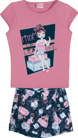 Conjunto Infantil Menina Travel Rosa