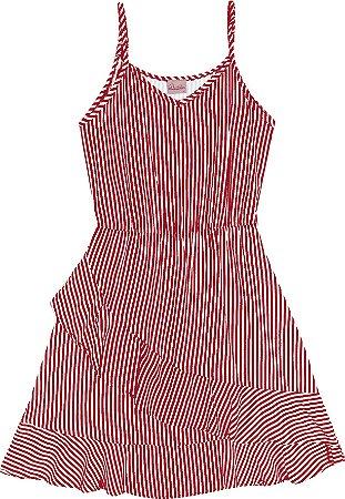 Vestido Juvenil Menina Listrado Vermelho