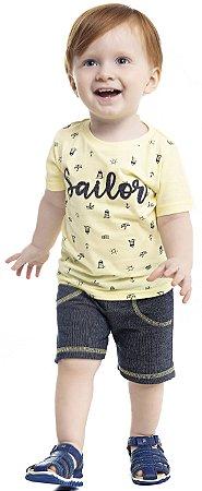 Conjunto Bebê Menino Sailor Amarelo
