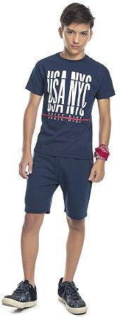 Camiseta Juvenil Menino USA NYC Azul