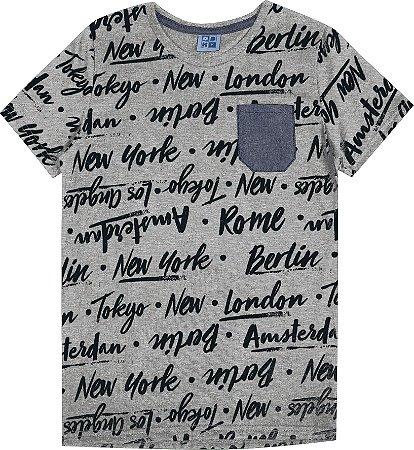 Camiseta  Juvenil Menino Escrita Mescla