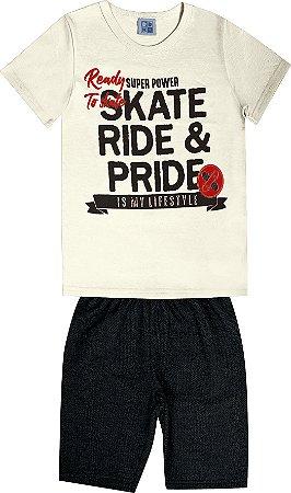 Conjunto Infantil Menino Skate Bege