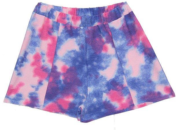 Shorts Feminina Adulto Tie Dye Roxo