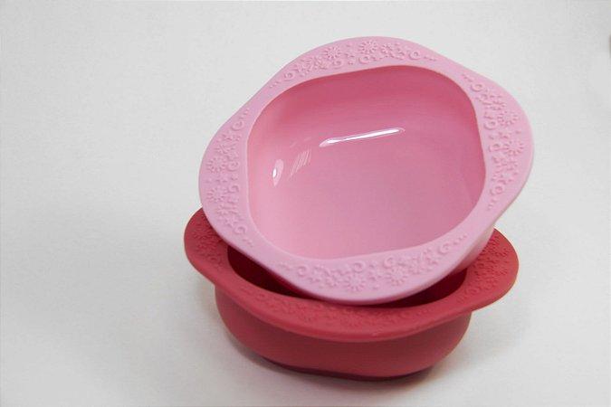 Kit Com 2 Tigelas Em Silicone Rosa E Vermelho