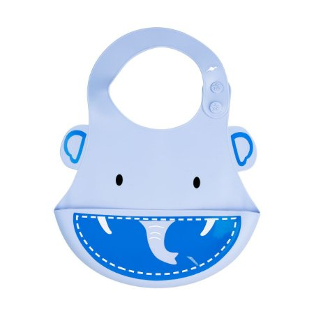 Babador Silicone Elefante Azul
