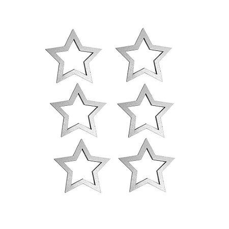 Estrela Prata Porta Guardanapo cj 6