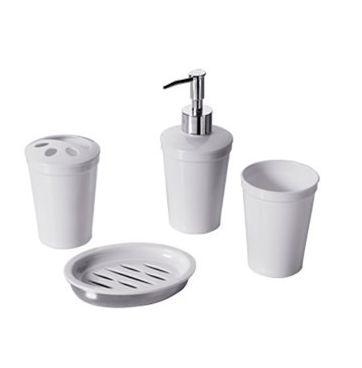 Kit Para Banheiro 4 Peças em Plastico Branco