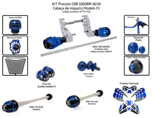 Kit Slider Cbr 1000rr 18/19 Procton ( 12 peças )
