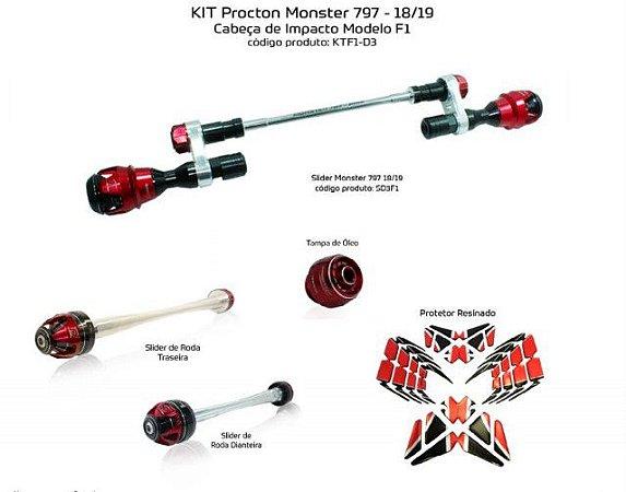 Kit Slider Ducati Monster 797 Procton 18/19 ( 5 peças)