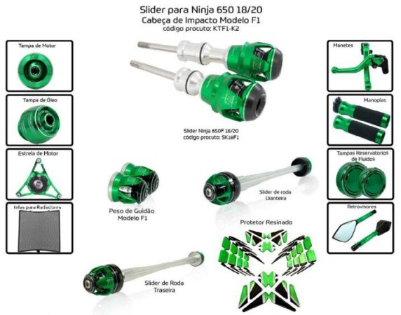 Kit Slider Ninja 650 18 a 20 Procton ( 13 peças )
