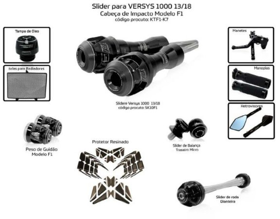 Kit Slider versys 1000 13 a 18 Procton ( 10 peças)