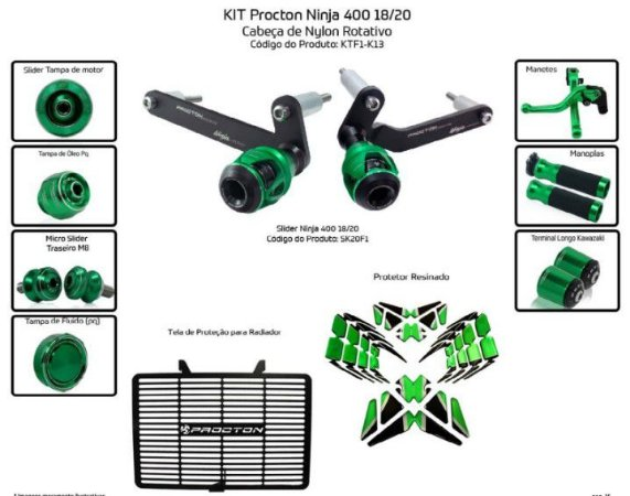 Kit Slider Ninja 400 18 a 20 Procton (10 peças)