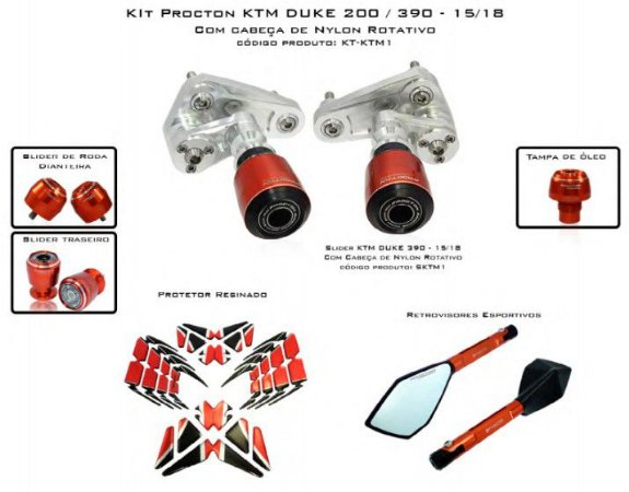 Kit Slider Duke 200/390 15 a 18 Procton ( 6 peças)