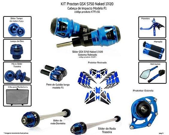 Kit Slider Gsxs 750 17 a 20 Procton ( 13 peças )