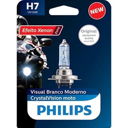 Lâmpada Farol Philips H7 55W Cristalvision Moto
