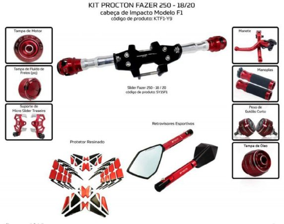 Kit Slider Fazer 250 18/20 Procton ( 10 peças )