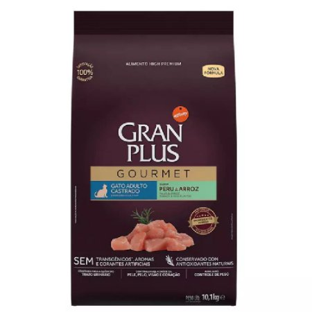 Ração GranPlus Gatos Gourmet Castrados Peru 10.1kg
