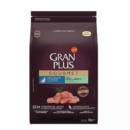 Ração GranPlus Gourmet Gatos Castrados Peru e Arroz 3kg